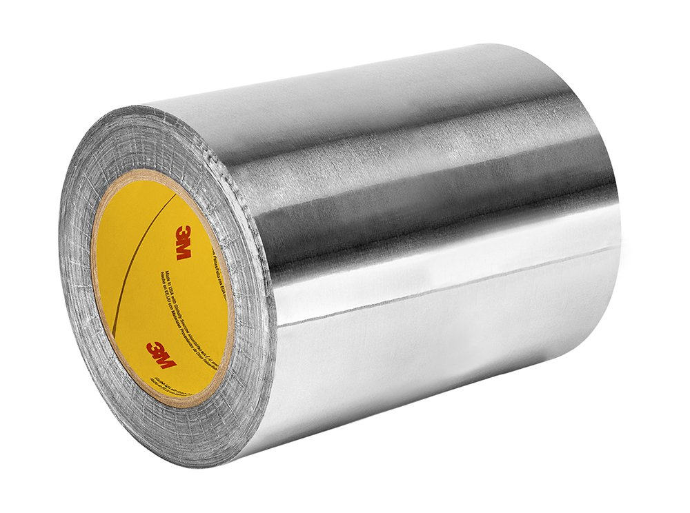 3M 1170 Silver Aluminum Foil Tape with Conductive Acrylic Adhesive, 18 yd length, 12'' width, Roll