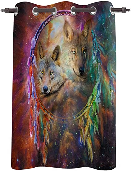 WARM TOUR Window Curtain Panel Wild Animals Wolf Galaxy Dreamcatcher Printing Decor Durable Drapes for Bedroom Kitchen Living Room Colorful