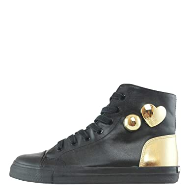 Moschino Scarpa Donna Sneakers Alta Con Cuori Nero E Oro JA15213 217 ... f686ab7d05e