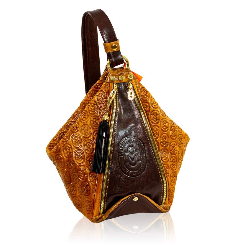 Marino Orlandi Italian Designer Monogram Cognac Maroon Leather Purse Bucket  Sling Bag c51c161890544