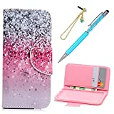 iPod Touch 5 Case, iPod Touch 6 Case, KASOS Colorful Painting Shiny Dots PU Leather Wallet Case with Kickstand Card Holders Magnetic Front Closure Bumper Cover & Dust Plug & Stylus - Gradient Color