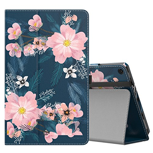 MoKo Case for All-New Amazon Fire HD 10 Tablet (7th Generation, 2017 Release) - Slim Folding Stand Cover with Auto Wake/Sleep for Fire HD 10.1 Inch Tablet, Night Blossom