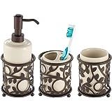 mDesign Decorative Ceramic Bathroom Vanity Countertop Accessory Set - Includes Refillable Soap Dispenser, Divided…