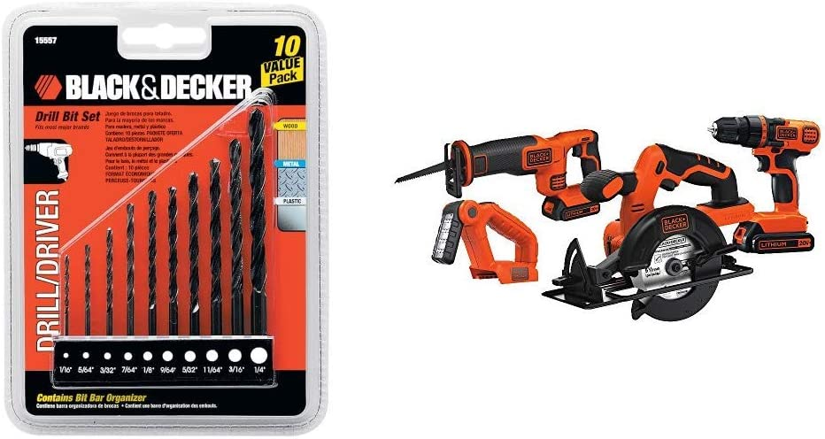 BLACK+DECKER 15557 10-Piece Drill Bit Set with Black & Decker BD4KITCDCRL 20V MAX Drill/Driver Circular and Reciprocating Saw Worklight Combo Kit