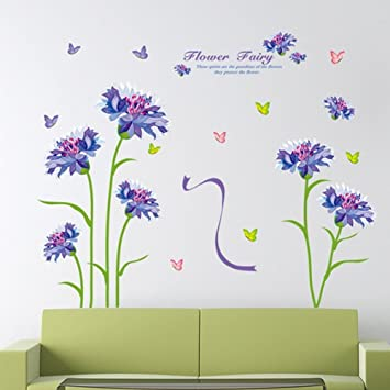 Amazon Com English Letter Purple Flower Butterflies Wall Decal Home