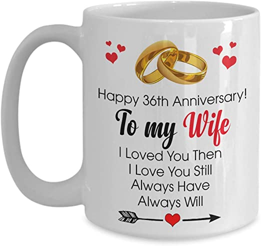Amazon Com Happy 36th Anniversary Mug Wife 36 Year Wedding Gift