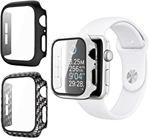 Vozehui 3-Pack Compatible with Apple Watch Case 38mm for Series 3/2/1,Built-in All-Around Tempered Glass Screen Protector and PC Hard Protector Cover for iWatch 3/2/1 38mm