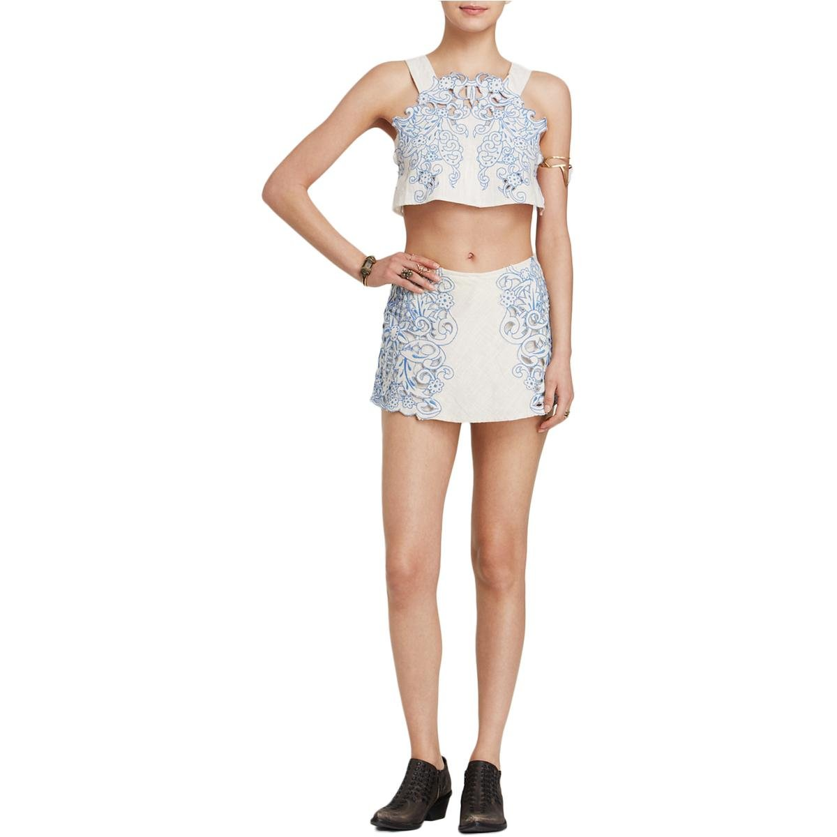 Free People Womens 2PC Embroidered Short Outfit Taupe 4