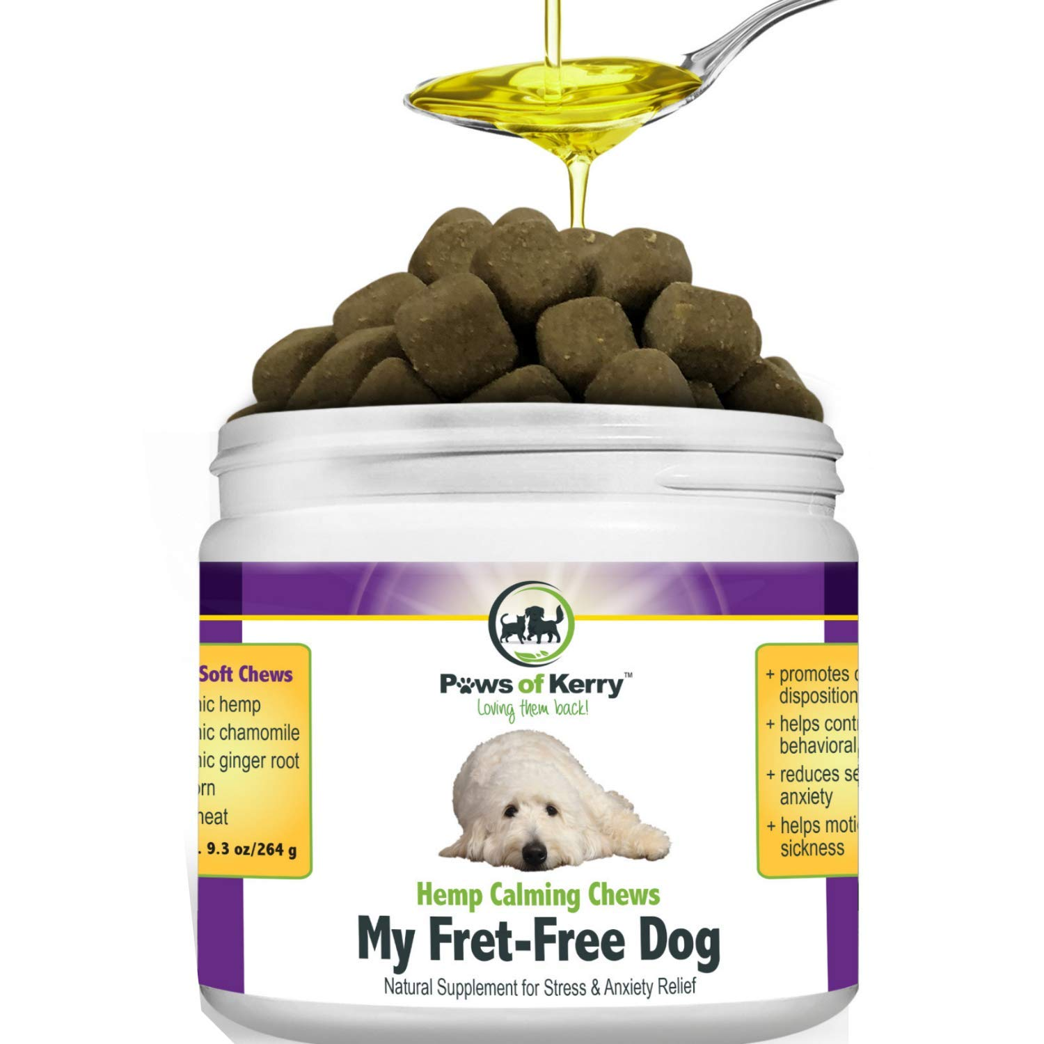 Paws of Kerry Calming Treats for Dogs Anxiety, Natural Hemp Oil for Dog Anxiety Relief, Dog Calming Aid for Separation Anxiety, Stress, Storms, Fireworks, Chewing & Barking 120 Soft Chews by Paws of Kerry