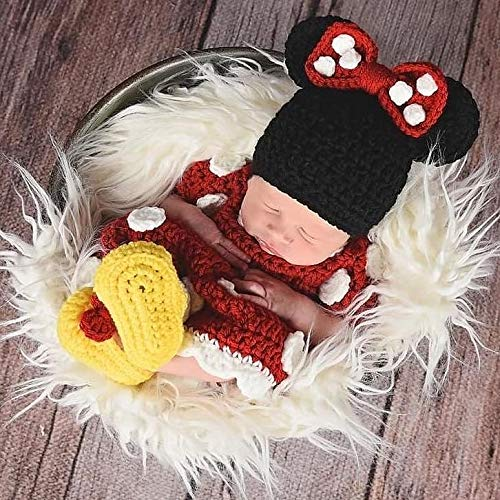 a0ab1bc9f Amazon.com: Crochet Baby Minnie Mouse Dress Shoes Booties Boots Beanie Set  Newborn Photography Photo Prop Handmade Baby Shower Gift: Handmade