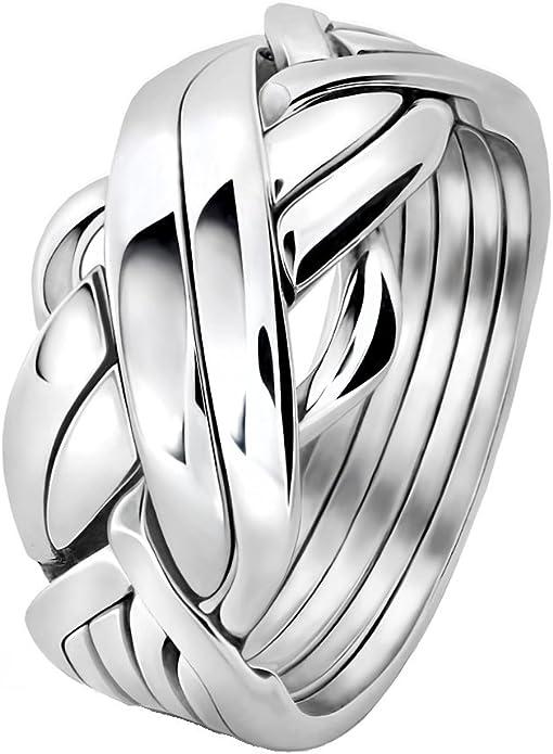 Los hombres de la banda de 6 rompecabezas de plata de ley anillo 6 FMS: Amazon.es: Joyería