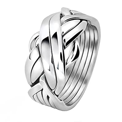 Men S 6 Band Sterling Silver Puzzle Ring 6fms Amazon Com