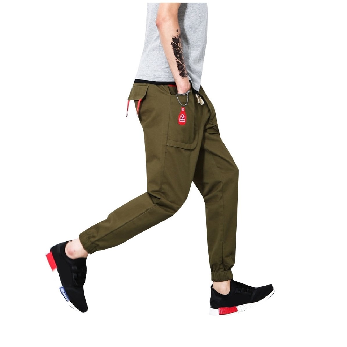YUNY Mens Elastic Drawstring Pocket Trousers Back Cotton Harem Pants Army Green L