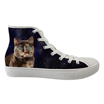 fd7d098c55288 Amazon.com | BELAMOR Mens and Womens Universe Cat Style High Top ...