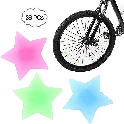 36Pcs Colorful Assorted Plastic Clip Kids Bike Bicycle Wheel Spoke Beads Decor