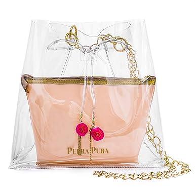 69240897a Bolsa Transparente Pompom Rosa: Amazon.com.br: Amazon Moda