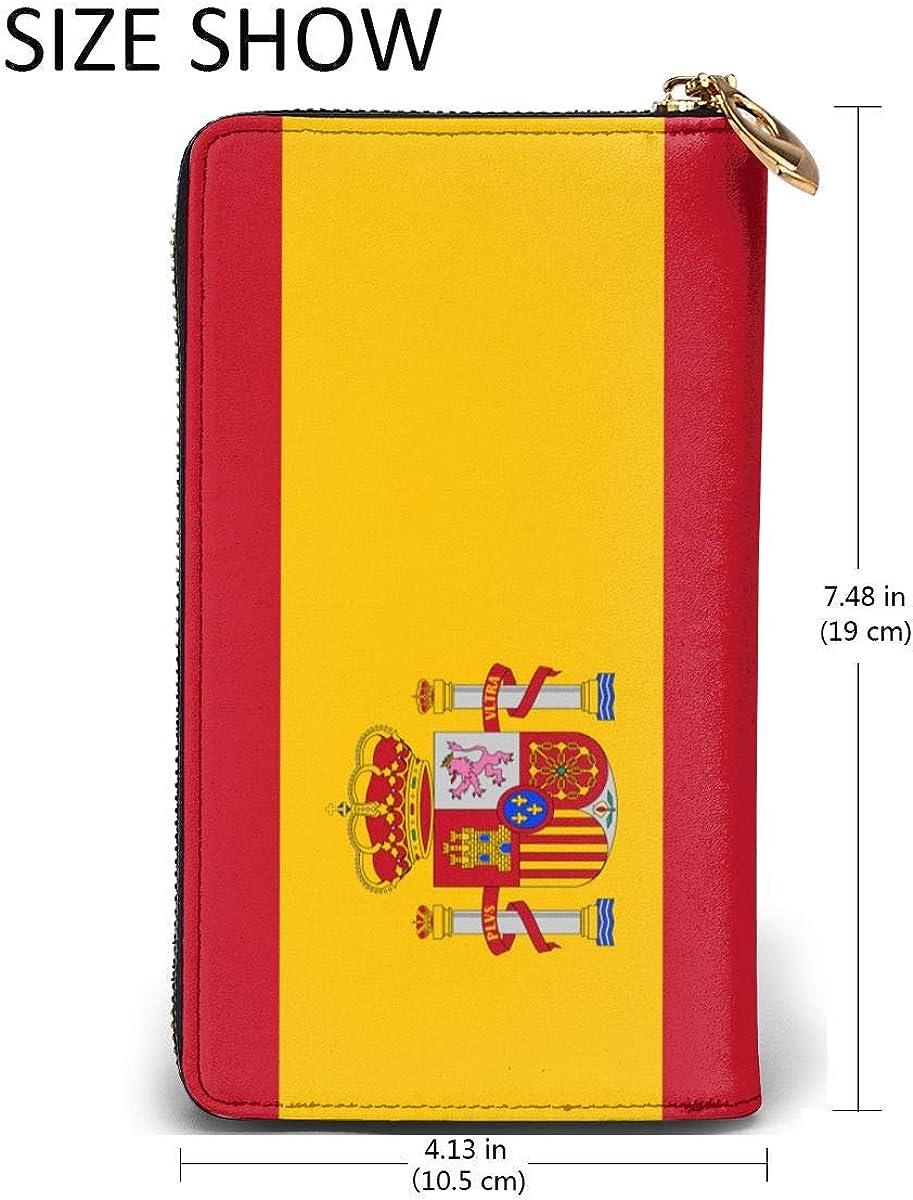 Spain Flag Wallets For Men Women Long Leather Checkbook Card Holder Purse Zipper Buckle Elegant Clutch Ladies Coin Purse