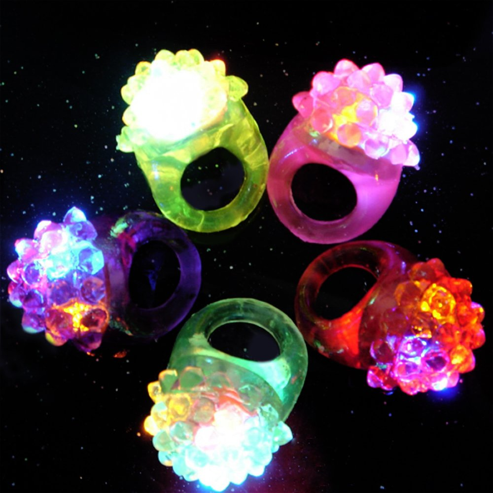 Novelty Place Party Stars Flashing LED Bumpy Jelly Ring Light-Up Toys (24 Pack) by Novelty Place (Image #4)