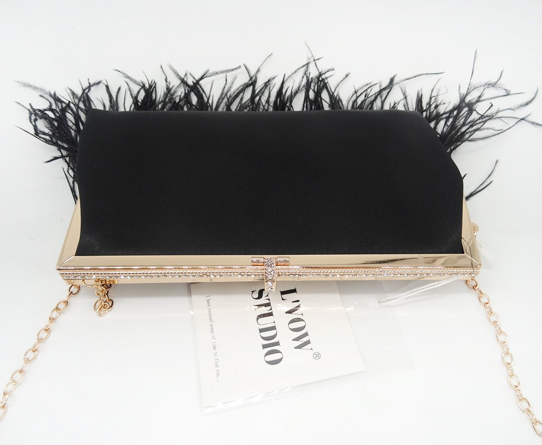 Zakia Real Natural Ostrich Feather Evening Clutch Shoulder Bag Party Bag (Black-B) by Zakia (Image #5)