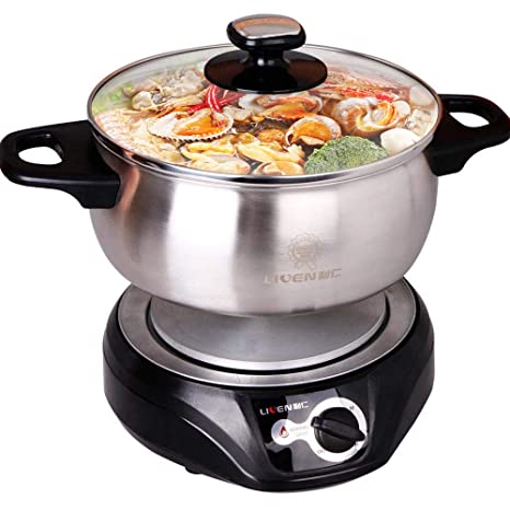 788530c72ba1 1.8L LIVEN Electric Hot Pot with Separated 304 Stainless Steel Pot Body and  Adjustable Power for Shabu Shabu, Cooking Noodles, Boiling Water Small ...