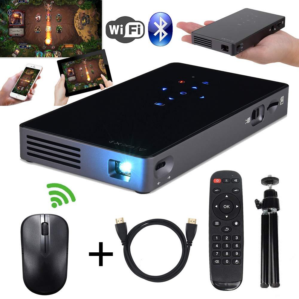 DLPミニプロジェクター ホームシアター プロジェクター 日本語説明書 マウス付き Android7.1 RAM1GB+ROM8GB ワイヤレス Wifiプロジェクター クアッドコア 台形補正 1080P HDビデオプロジェクター 100ANSIルーメン Bluetooth/HDMI/Airplay/Eshare /USB /TFカード支持 パソコン/スマホ/タブレット/ゲーム機など接続可能 B075H8WMS9