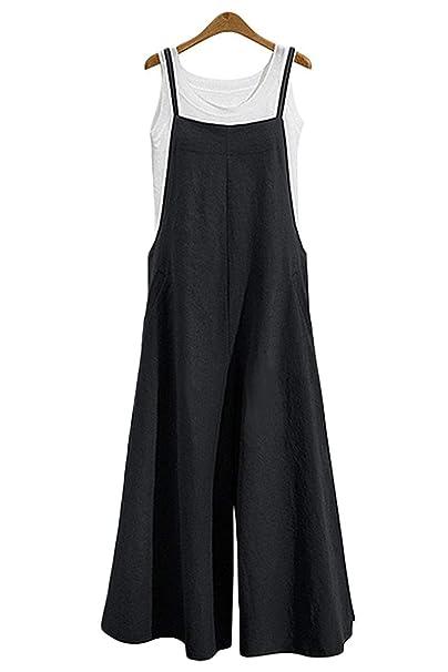 af115cebbcc MAGIMODAC Women Summer Cotton Dungarees Casual Baggy Jumpsuit Playsuit  Retro Trousers Pants Plus Size Oversize UK 8 10 12 14 16 18 20 22   Amazon.co.uk  ...