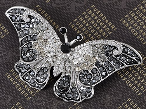 Empress Monarch Winged Butterfly Swarovski Crystal Rhinestones Brooch Pin - Jet Black by Alilang (Image #2)