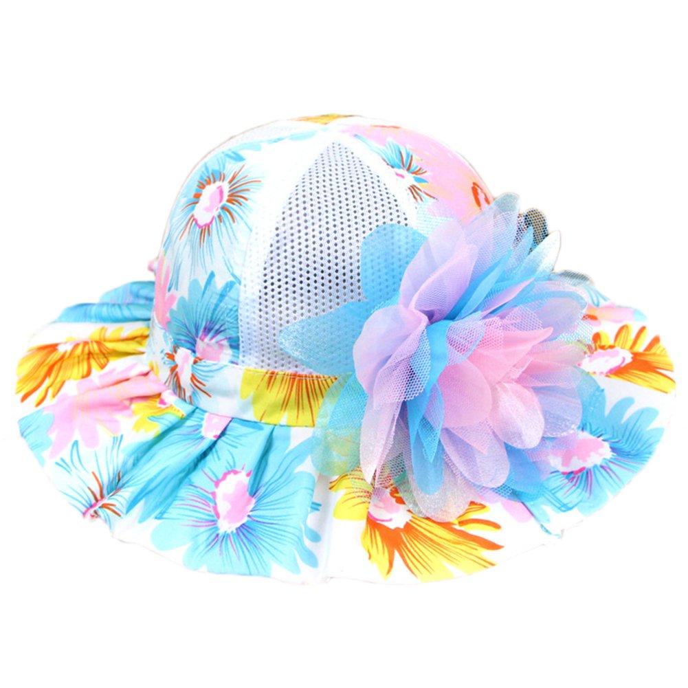 Kanggest Las Niñas de Algodón Colorido del Verano del Sombrero de Ala Ancha con Decoración de Flores para el Recorrido de la Playa Protección Solar (Color C)