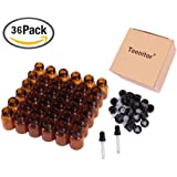 Oil Bottles for Essential Oils, Teenitor® 36 Pcs High Quality 2 ml (5/8 Dram) Amber Glass Vials Bottles, with Orifice Reducers and Black Caps, With 2 Free Glass Transfer Eye droppers [USA Seller]