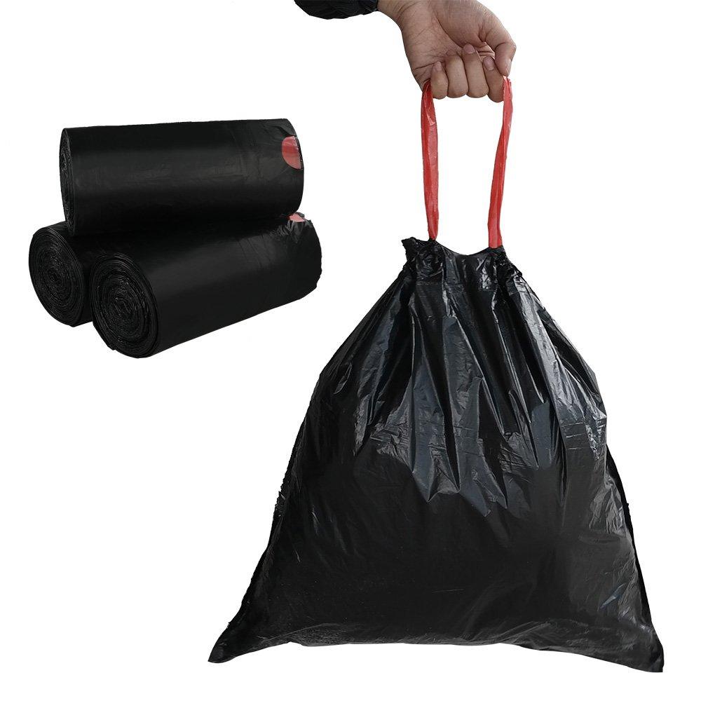 Begale 7 Gallon Drawstring Trash Bags, Black, 110 Counts/ 3 Rolls