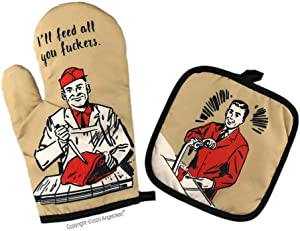 Angeloken Funny Oven Mitts I'll Feed All You Fuckers Extreme Heat Resistant Soft Cotton Lining Pot Holder Oven Gloves Set for Kitchen BBQ Grilling Baking Welding 11 Inch