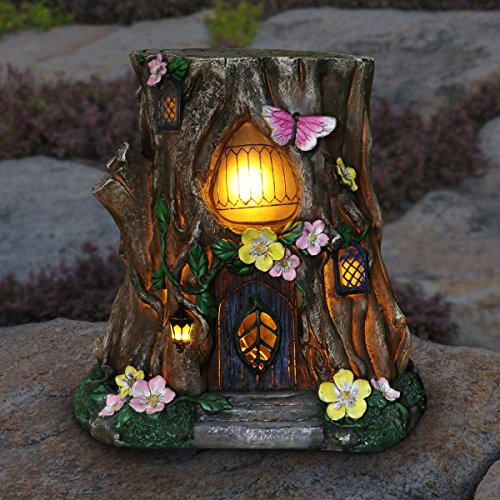 Exhart Gardening Gifts –Fairy House Tree Stump Statue - Large Garden Statues w/Solar Garden Lights, Outdoor Use, Fairy Themed Garden Décor, Weather Resistant Resin Statues by Exhart (Image #1)