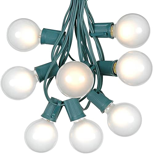 G50 Patio String Lights with 125 Frosted Globe Bulbs Outdoor String Lights Market Bistro Caf Hanging String Lights Patio Garden Umbrella Globe Lights – Green Wire – 100 Feet