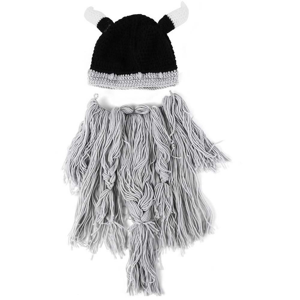 Winter Warm Mask Hat Viking Beard Beanie Horn Hat Knitted wool Funny Skull Cap