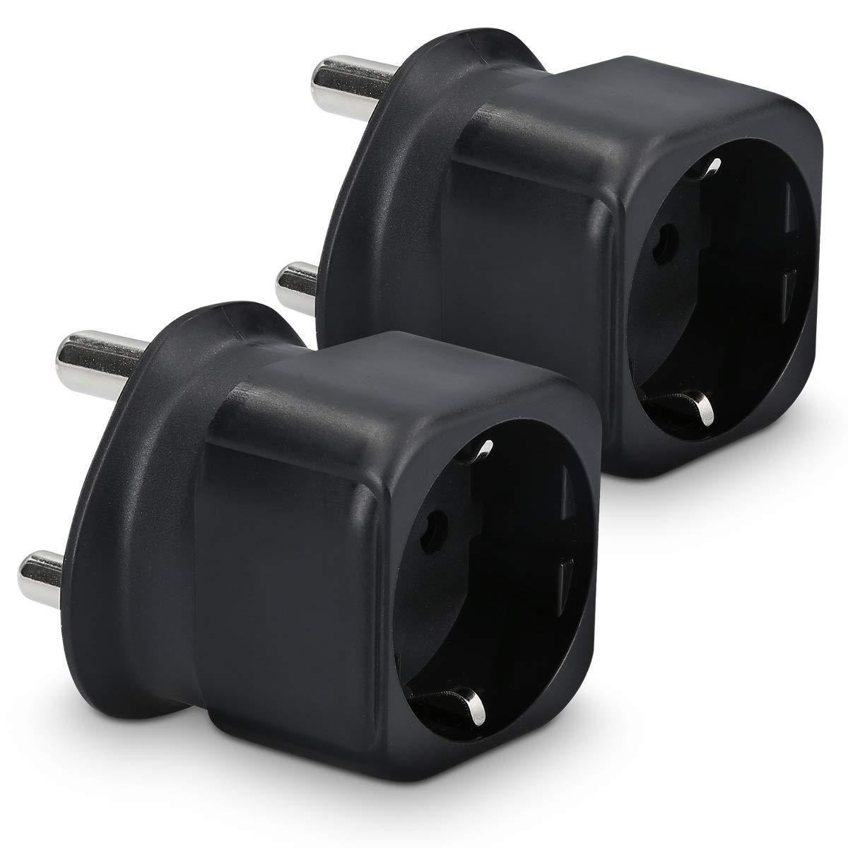 Conector de enchufes Color Negro Conector Sud/áfrica Nepal Macao 2X Adaptador Enchufe schuko kwmobile 2 Adaptadores de Viaje Sud/áfrica Tipo M