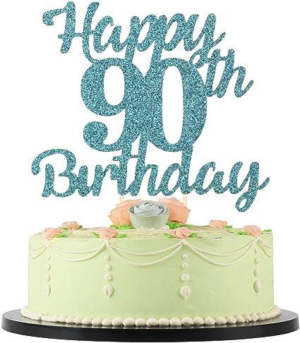 Wondrous Amazon Com Lveud 90Th Birthday Cake Topper For Happy Birthday Personalised Birthday Cards Petedlily Jamesorg
