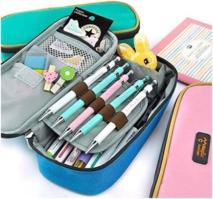 Lorjge - Estuche grande para lápices o cosméticos, bolsa con cierre de cremallera: Amazon.es: Hogar