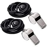 Metal Sports Whistle with Breakway Neck Lanyard 2 Pack for Football Referee Coach Umpire Stainless Steel by Ouway