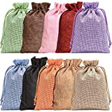 Noverlife 10PCS Colorful Burlap Bag Drawstring Gift Bags Jute Bag Hessian Linen Sacks Jewelry Pouches for Wedding Party Favors Candies DIY Crafts - 5x7' (13x18cm)