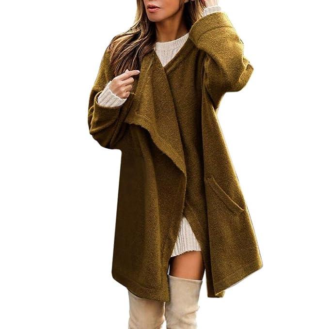 Abrigo para Mujer Koly Invierno Moda Coat Casual O-Cuello Chaqueta de Algodón Capa Jacket Parka Pullover Cárdigan Jacket Parka Outwear Ladies Felpa Sólido ...