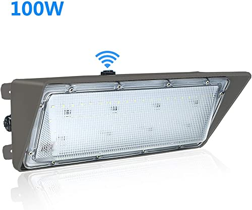 100W LED Wall Pack Light with Dusk to Dawn Photocell,5500K Daylight White,Outdoor LED Wall Pack Light 100W