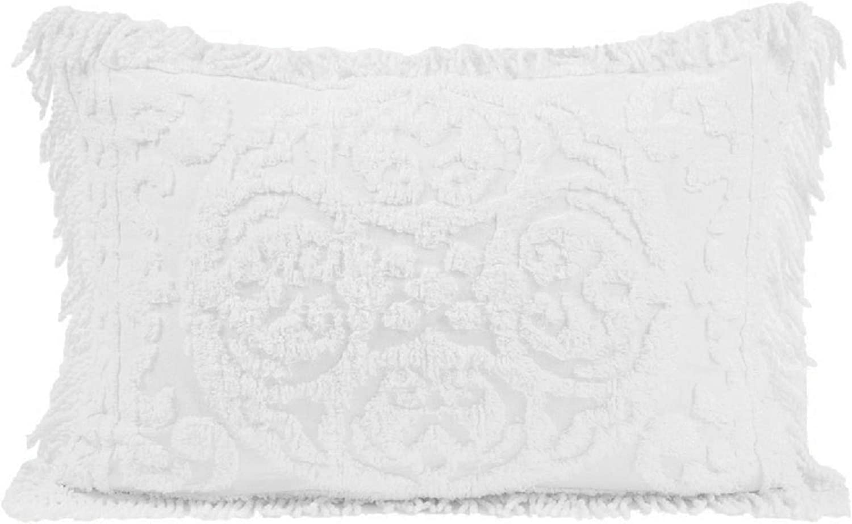 Beatrice Home Fashions Medallion Chenille Pillow Sham, Standard, White