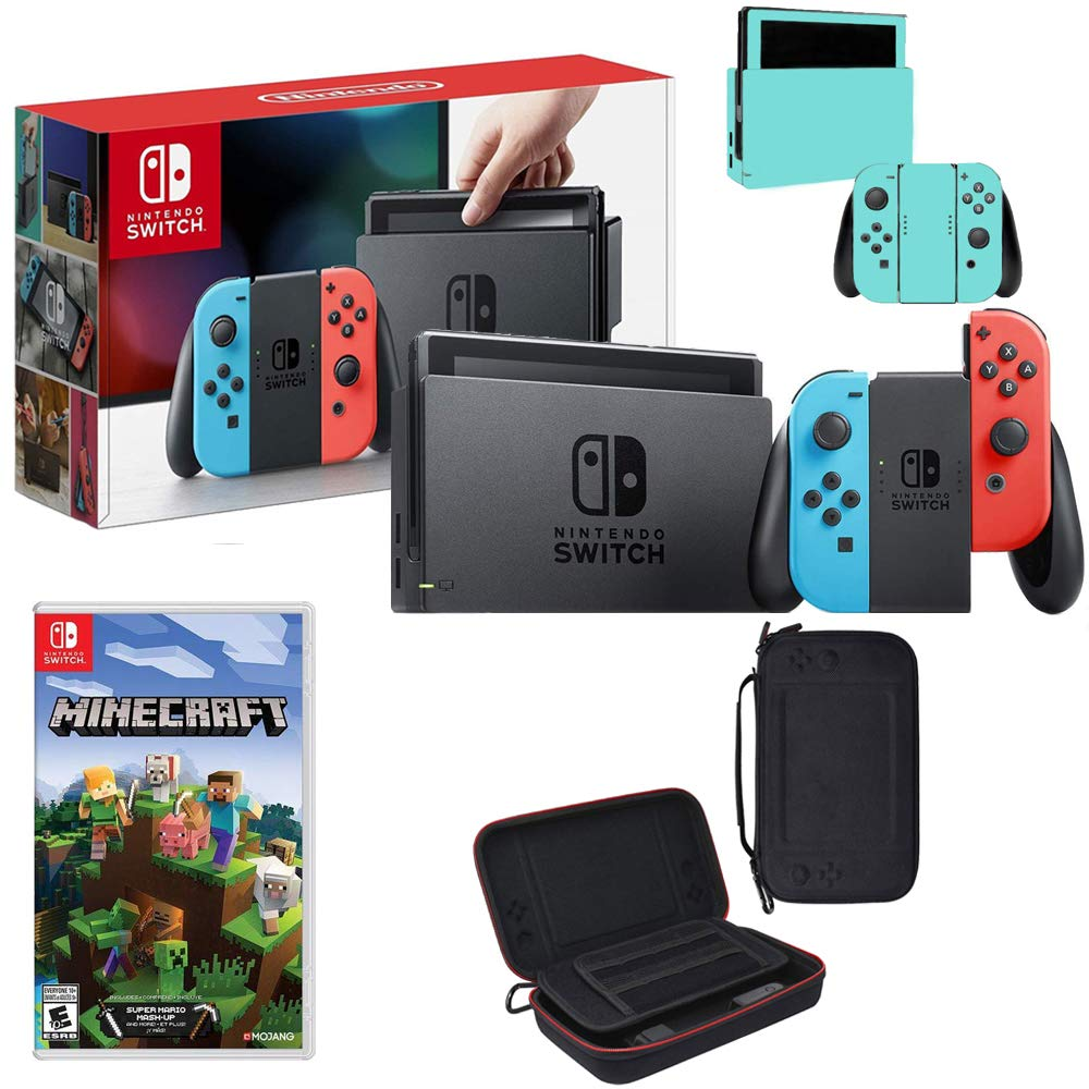 Nintendo Switch 32GB Console(Neon Blue&Red) with Minecraft, Charging Case & More