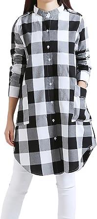 Mujer Camisas Manga Larga A Cuadros Elegantes Largas Blusa Lindo Chic Invierno Otoño Vintage Anchas Casual Blusones Tops con Bolsillo Botones Irregular Moda Classic Camisa Vestidos: Amazon.es: Ropa y accesorios
