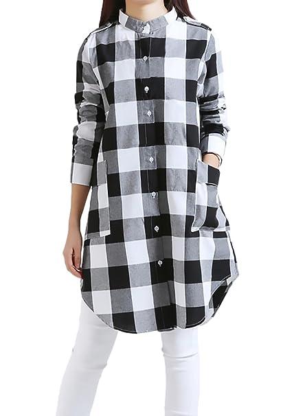 Mujer Camisas Manga Larga A Cuadros Elegantes Largas Blusa Invierno Otoño Vintage Anchas Casual Blusones Tops