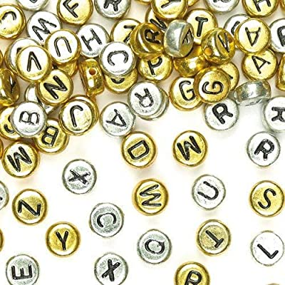 Baker Ross AF219 Gold & Silver Alphabet Beads (Pack of 400) for Kids Crafts and Jewellery Making, 6mm: Arts, Crafts & Sewing