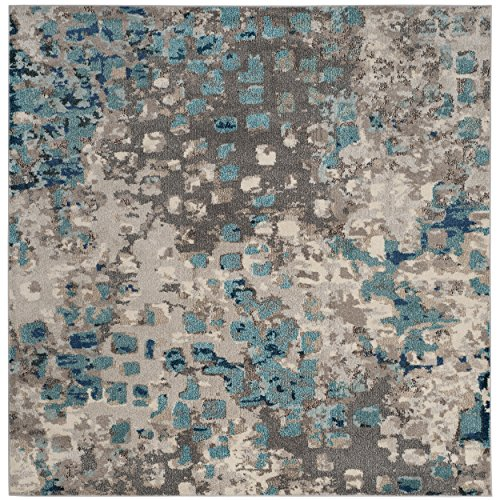 5 Square Rug (Safavieh Monaco Collection MNC225E Modern Abstract Grey and Light Blue Square Area Rug (5' Square))