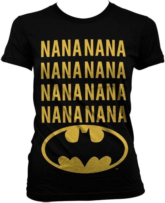 Mujeres Oficiales NaNaNaNa Batman Logo Negro Camiseta Cabida T Shirt: Amazon.es: Ropa y accesorios