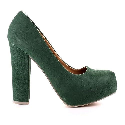 Chaussures Haut Velours Talon Escarpins Vert Femme zaURUq