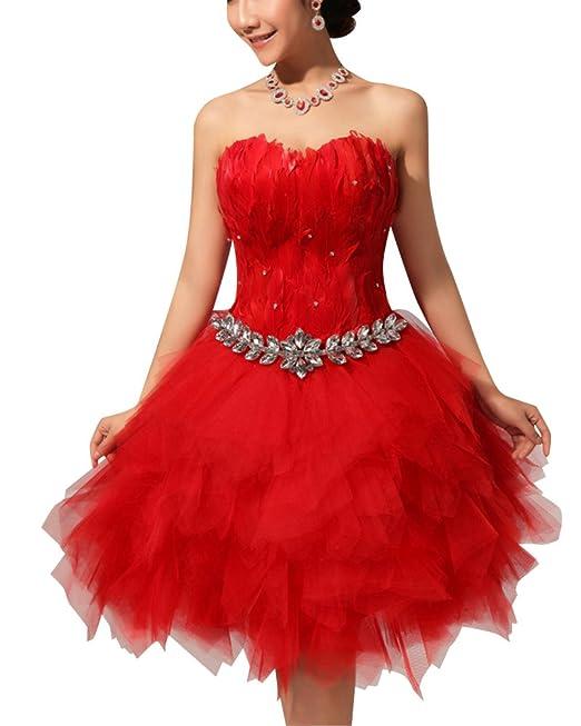 Mujer Elegante Vestido para Boda Ceremonia De Vuelo Encaje Floral Precioso Vestido Rojo L